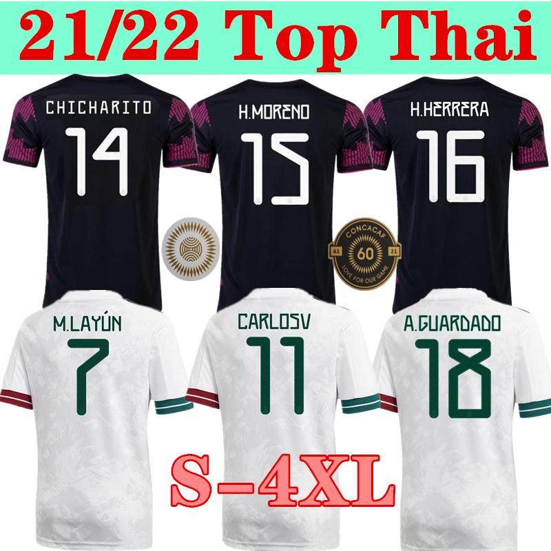 S-4XL México Jerseys Copa América Camisetas 20 21 Chicharito Lozano dos Santos Moreno Alvarez Guardado 2021 Camisas de futebol Homens + Kids Sets Kit