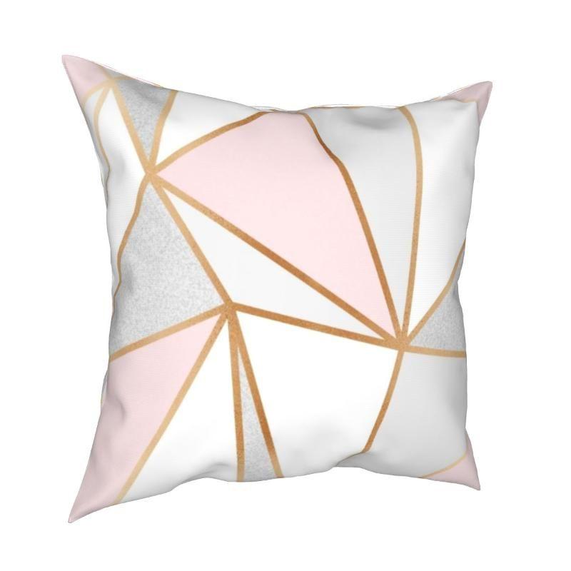 Kissen / Dekoratives Kissen Rosa Graugold Geo Covers Sofa Abstrakt Geometrisches Weiß Nordisches Dreieck Kissenbezug Home Decoration Fall 45 * 45 cm