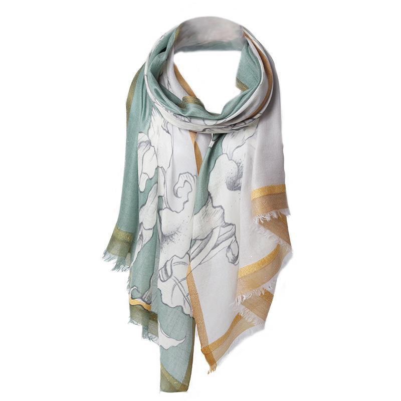 Écharpe 100% Cachemire Imprimé Floral Fleur Chaud Fashion Automne Hiver Grand Taille Longue Taille Véritable Soie Dames 200-70cm Écharpes