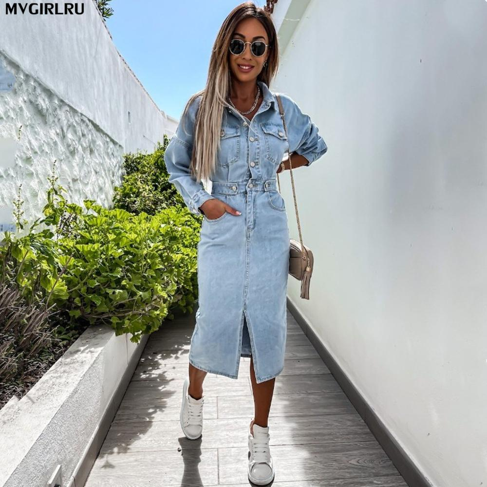 MVGIRLRU Kadınlar Denim Elbise İlkbahar Sonbahar Kovboy Astar Uzun Paket Kalça Seksi Kadın Kot Elbiseler