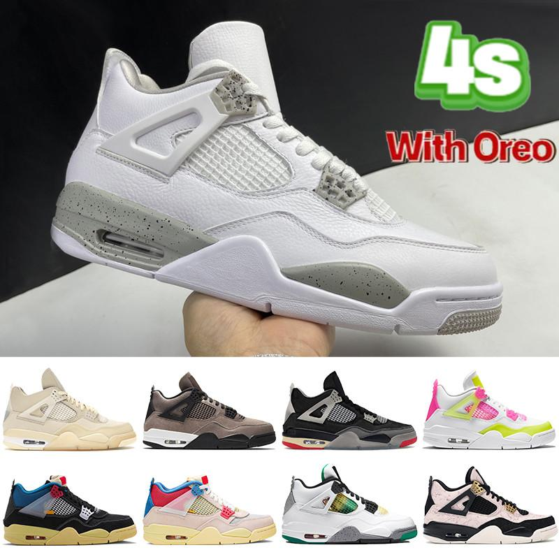 Top 4 4s White Oreo Homens Mulheres Basquetebol Shoes SP Taupe Haze x Sail Bred Noir Guiaba Ice Rasta Mens Sneakers Trainers