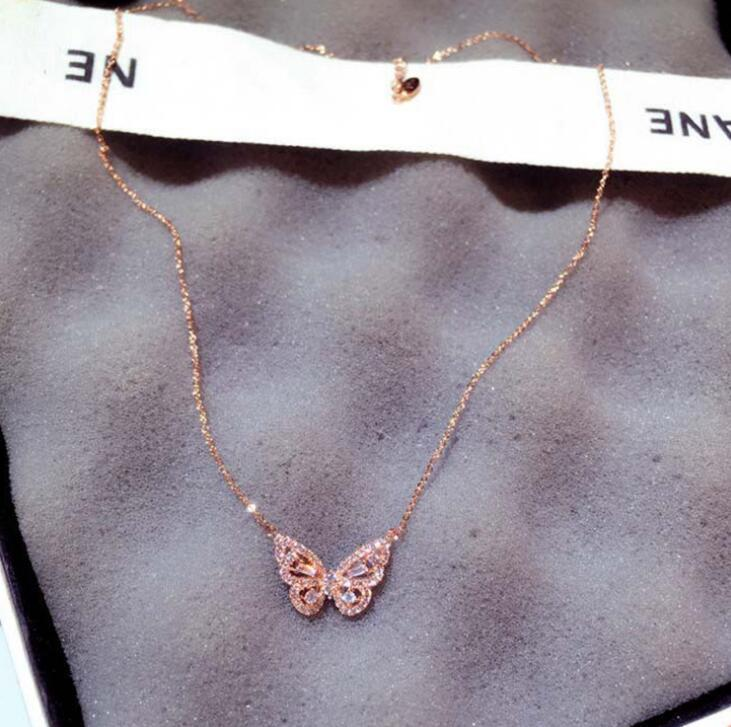 Ins Fashion 3 Colors Zircon Butterfly Necklace Bling Blings Rose Gold Silver Animal Charm Pendant Statement Necklaces Exquisite Jewelry For Women Girls