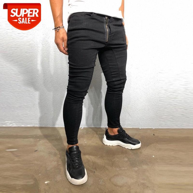 OUMA erkek Moda Placket Fermuar Dekorasyon Siyah Slim-Fit Denim Pantolon # RF56