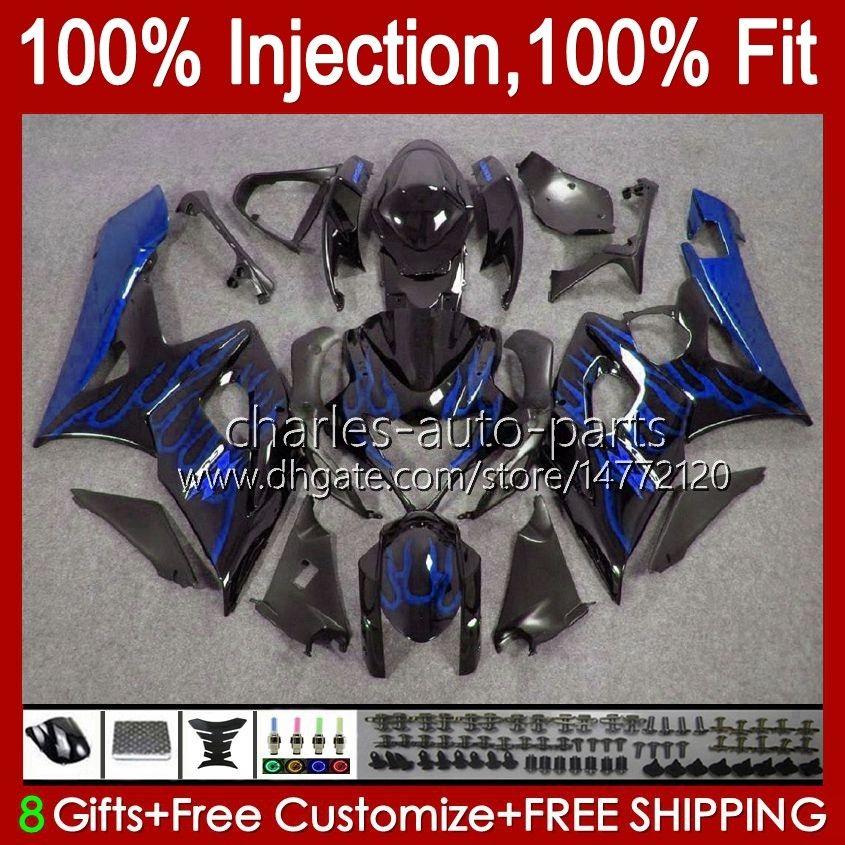Stampo a iniezione OEM per Suzuki GSXR1000 05 06 GSXR 1000CC 1000 cc K5 Bodywork 11HC K5 11HC.51 GSXR-1000 GSX-R1000 05-06 GSX-R1000 05-06 GSX R1000 2005 2006 Kit carenatura 100% FIT BLU Fiamme blu