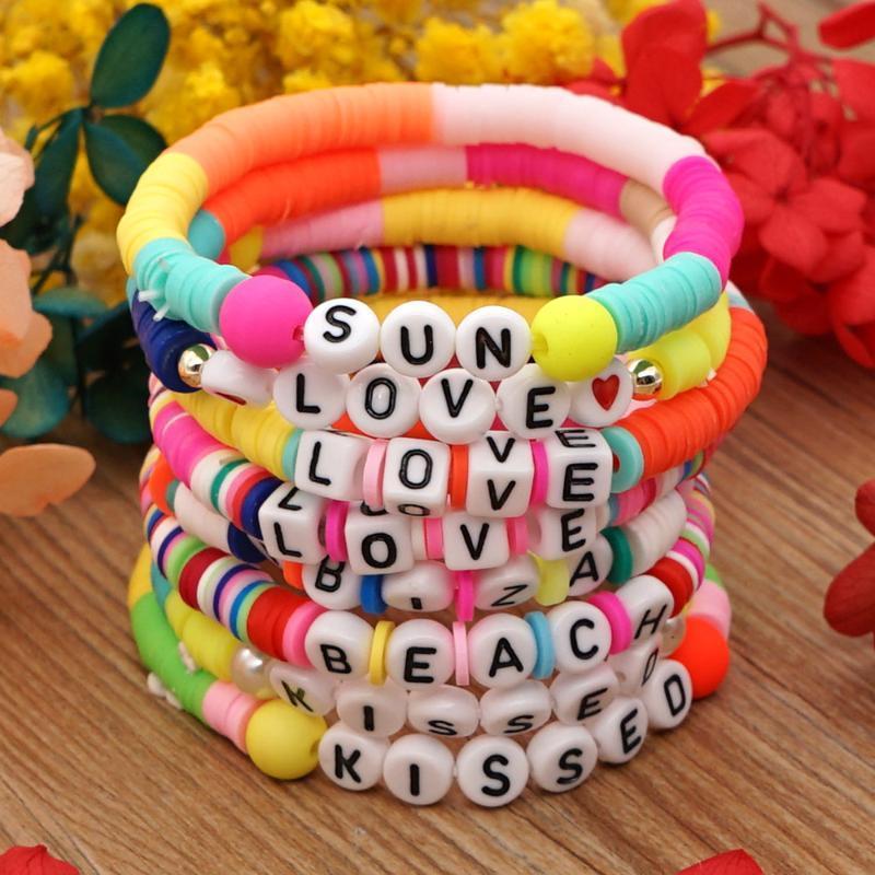 Cuentas, hebras reciclables letra colorida amor playa polimer arcilla arcilla hecha a mano charmo pulsera para mujeres fiesta arco iris bricolaje joyería femenina