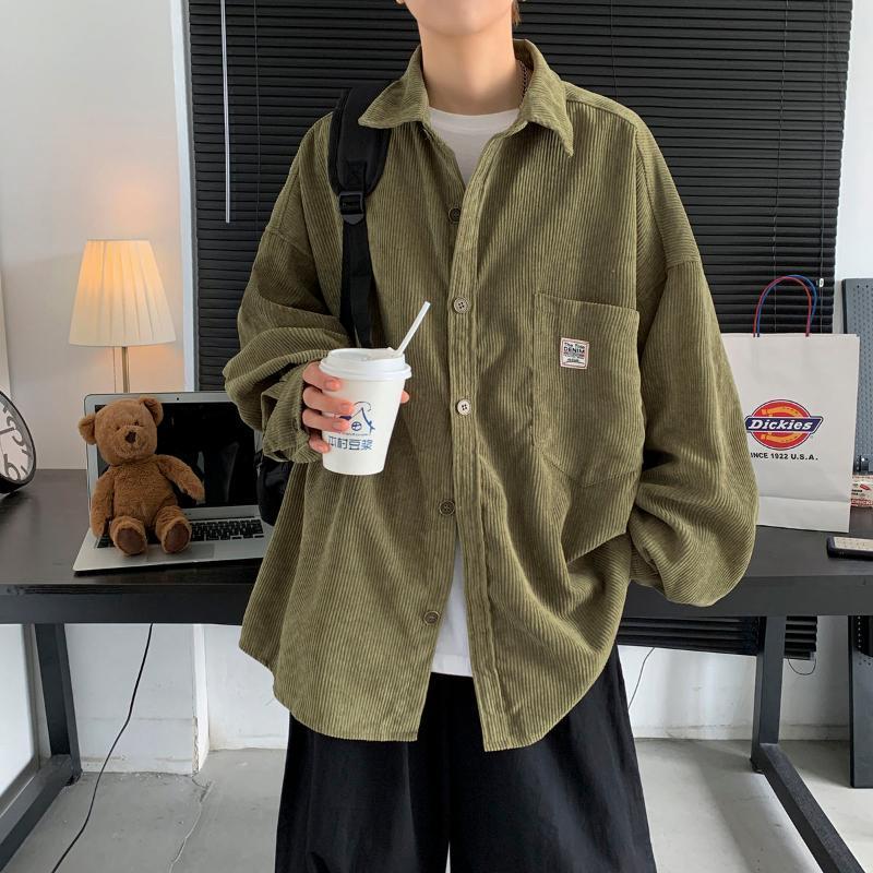 네 플로하 남성용 코듀로이 긴 소매 셔츠 가을 겨울 한국어 셔츠 여성 패션 캐주얼 특대 인쇄 된 옷