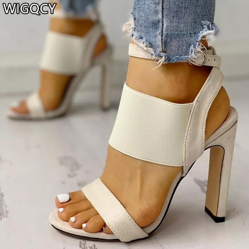 Sommer Mode Bequeme Frauen Sandalen Runde Zehe Schnalle Offene Beiläufige sexy Stiletto High Heels Große Größe 34-43