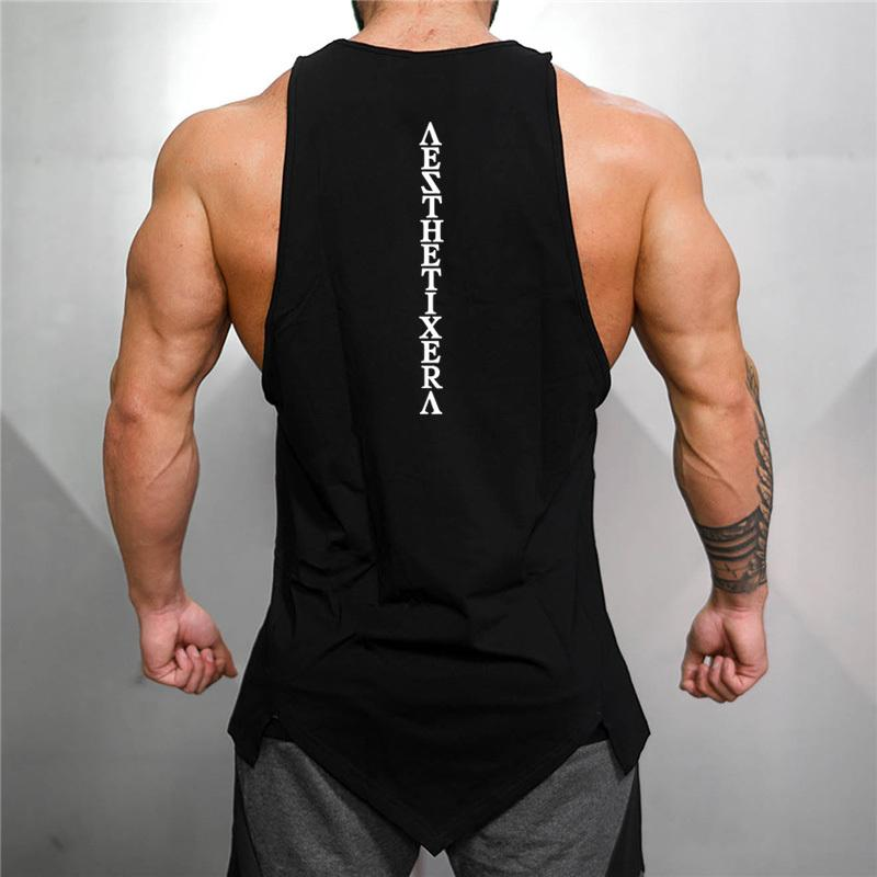 Muscleguys Ginásio Stringer Roupas Bodybuilding Bodybuilding Homens Fitness Singlet sem mangas Camisa Sólida Algodão Undershirt Colete Muscle 210408
