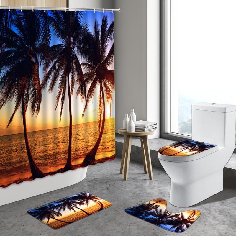 Shower Curtains Summer Dusk Palm Tree, Palm Tree Shower Curtains Bath Accessory Sets