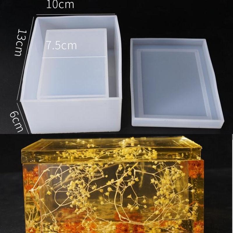 NUEVO Molde de silicona transparente Secado Flor Resina Artesanía Decorativa DIY Almacenamiento Tisual Tissue Molde Moldes de resina epoxi para joyería T200917
