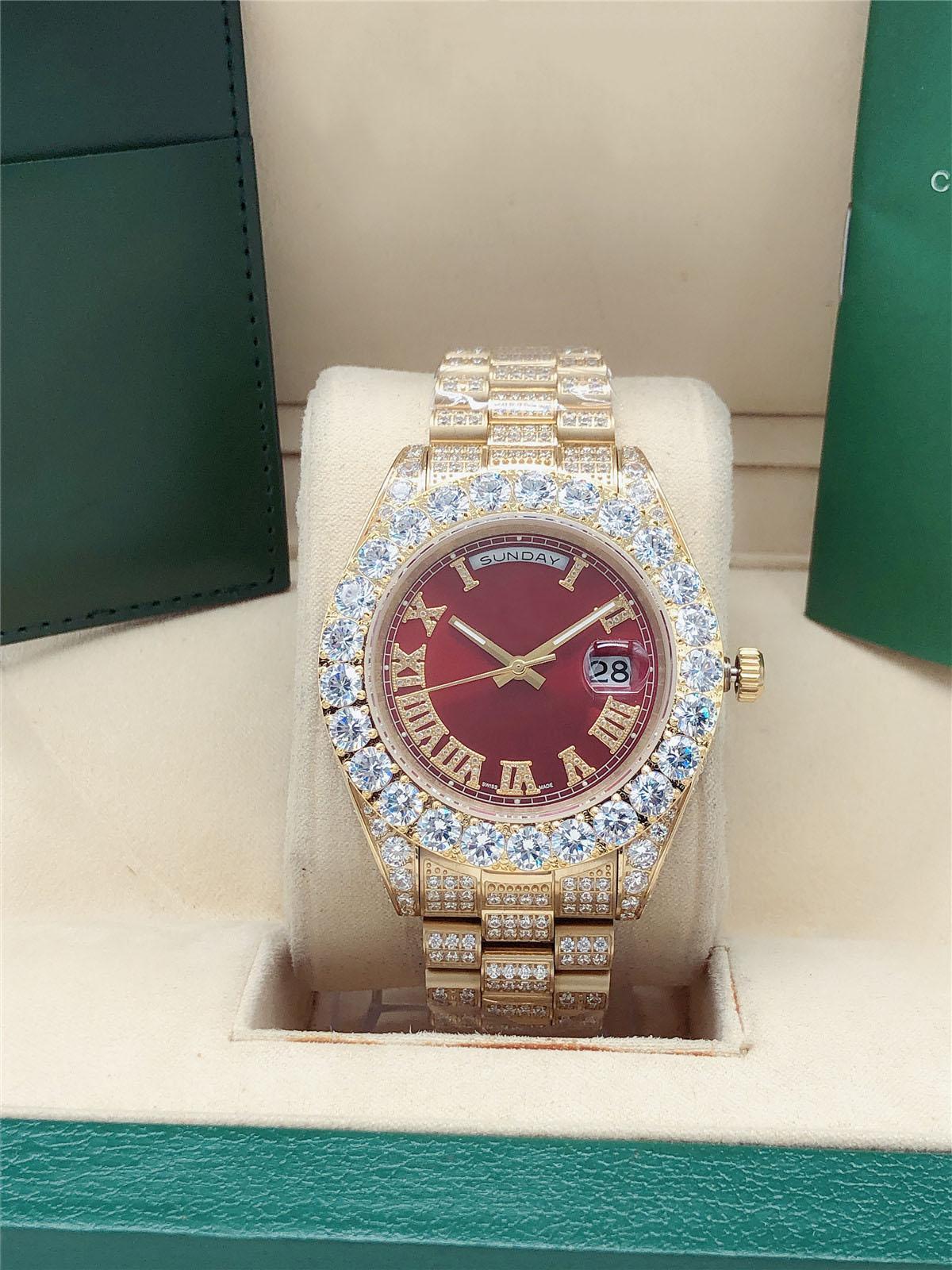 Luxury U1 Factory 11 style Full diamond President Day Date Watch 218238 Big Diamond Bezel 43mm Roman dial Yellow Gold men men's 2813 automatic Wristwatch red dail