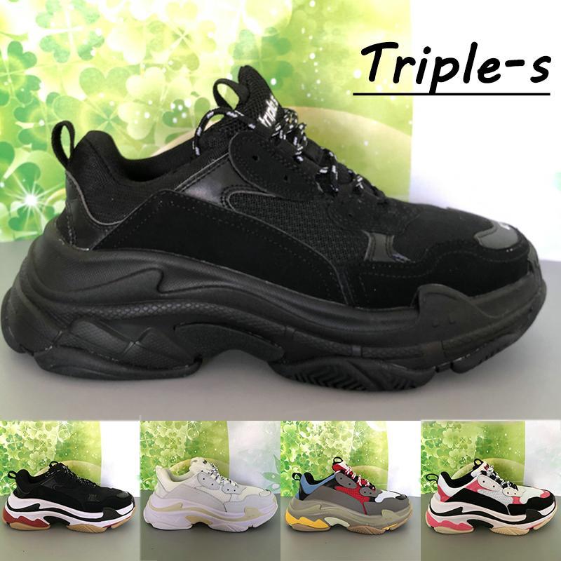 2021 Paris Triple-S Plateforme Hommes Casual Chaussures Triple Noir Blanc Rouge Cream Jaune Beige Golfe Gym Bleu Fashion Mens Sneakers US 6-12