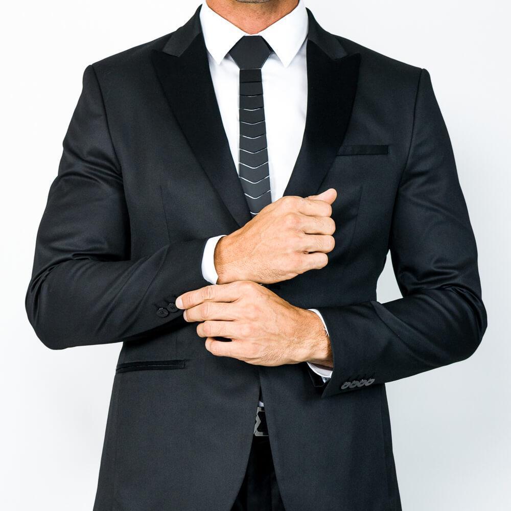 TIES HEX HEX BLACK DE LUJO LUJO ARQUITO Floral Hombres Accesorio de boda Negocio Vestido formal Vestido Negro Matte Corbatas