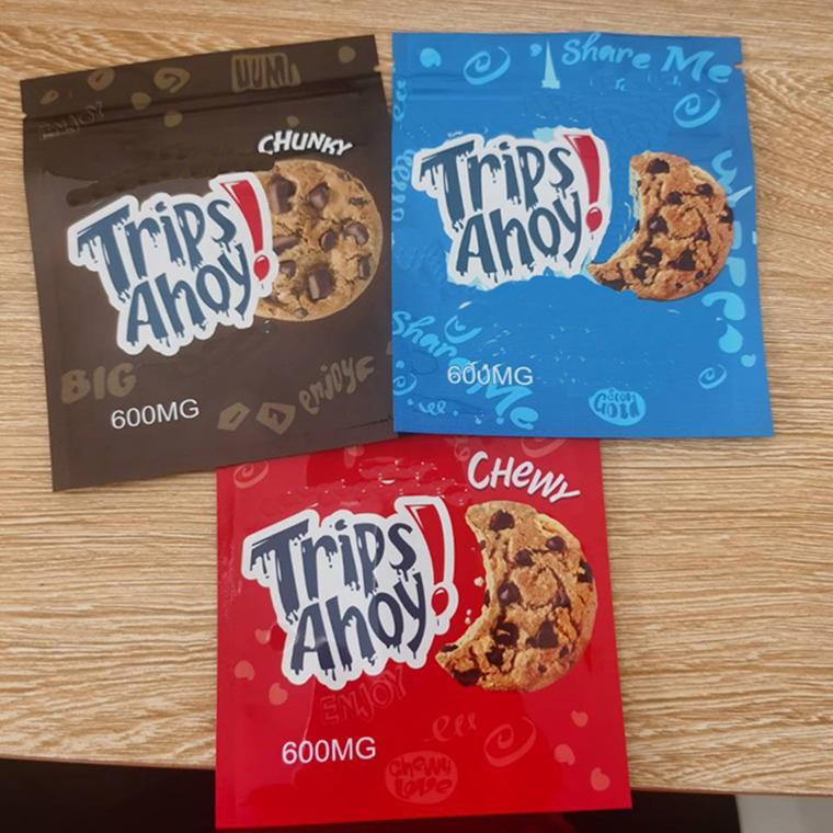 Cereale Gummy Edibles Bag Packaging Bag Canna Burro Viaggi Ahoy Cioccolato Chip Biscotti medicati Biscotti croccanti