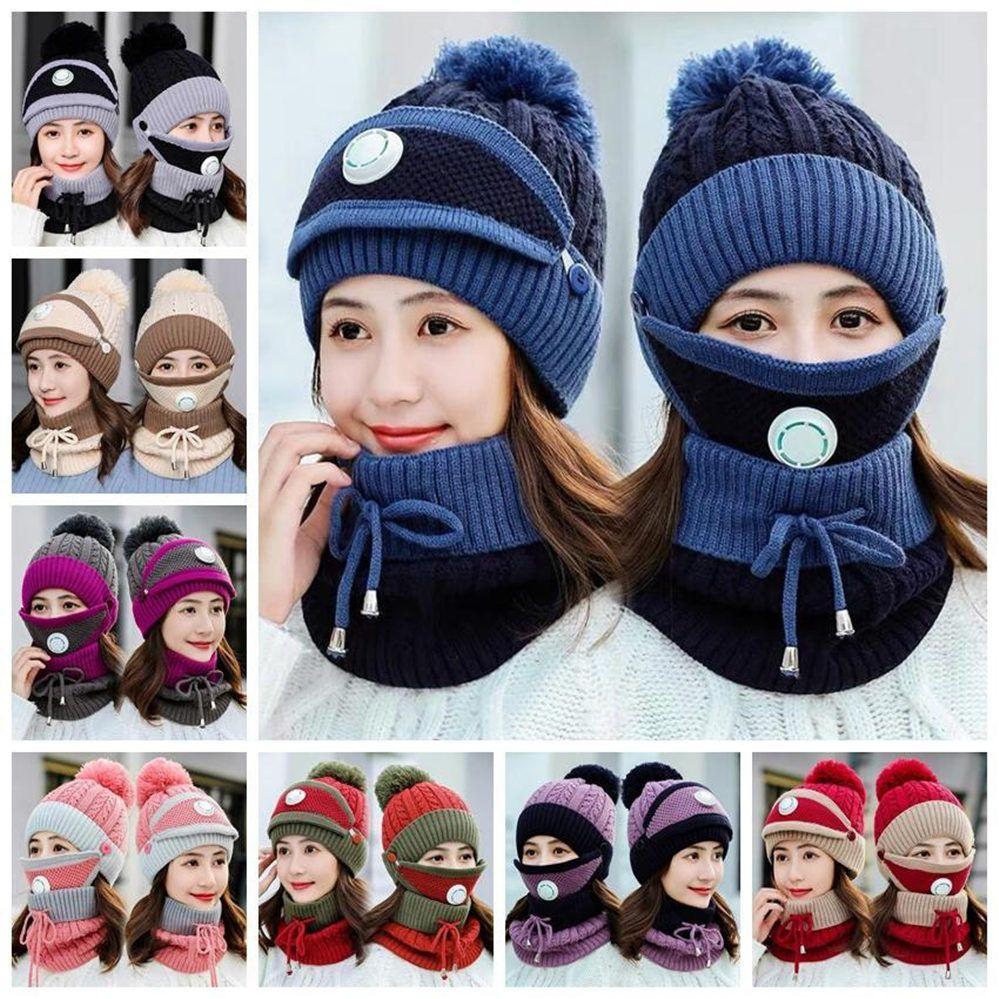 Estoque de malha chapéus máscaras lenço conjunto goinhos com válvula maks lenço lã de inverno pompon chapéu casual conjuntos de festa chapéus recipios