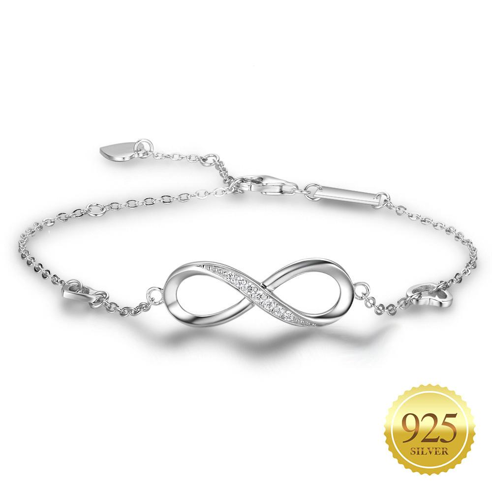 Women 925 Sterling Silver Infinity Bracelet Heart with Cubic Zirconia Paved Crystal Adjustable Endless Love Symbol Charms Friendship Anniversary Birthday Gift