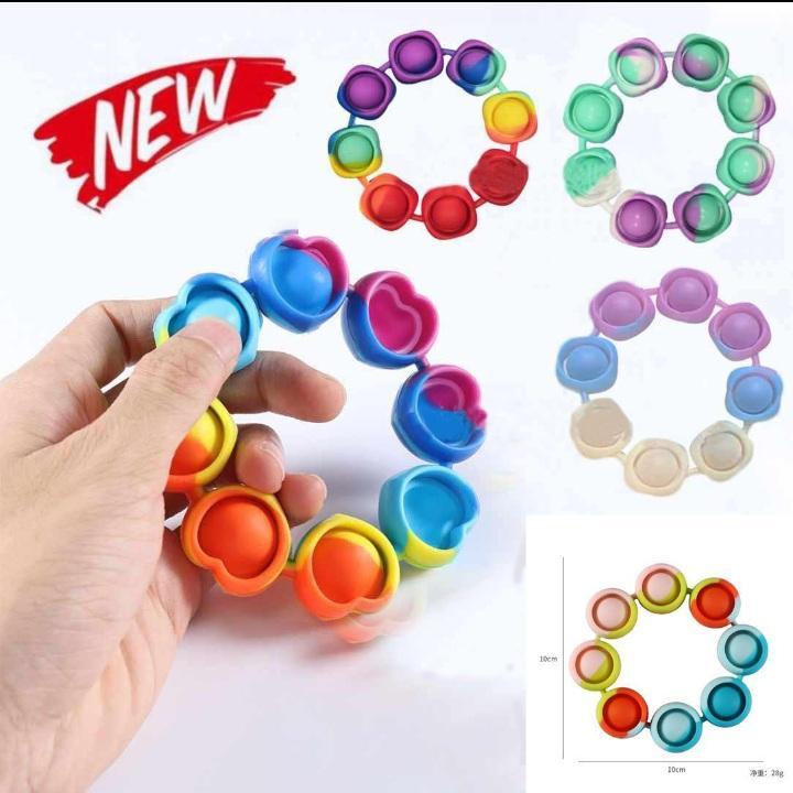 Estoque Unidget Bracelet Reliver Reliver Stress Brinquedos Arco-íris Bubble Push It Antistress Brinquedo Adulto Crianças Sensory Para Aliviar o Autismo Pulseira DHL