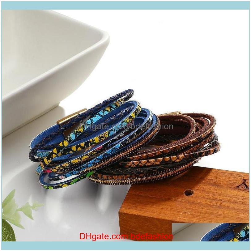 Tennis Jewelrygenuine Leather For Women Fashion Bohemian Snake Skin Pattern Charm Bracelets Female Jewelry Drop Delivery 2021 5Yri6