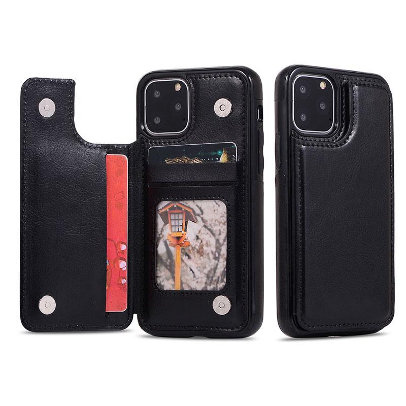آيفون 11 برو ماكس XS XR X 8 7 زائد الحالات الجلدية الجلود ثلاثة غطاء حامل المحفظة المضادة للهاتف المحمول مع فتحة بطاقة