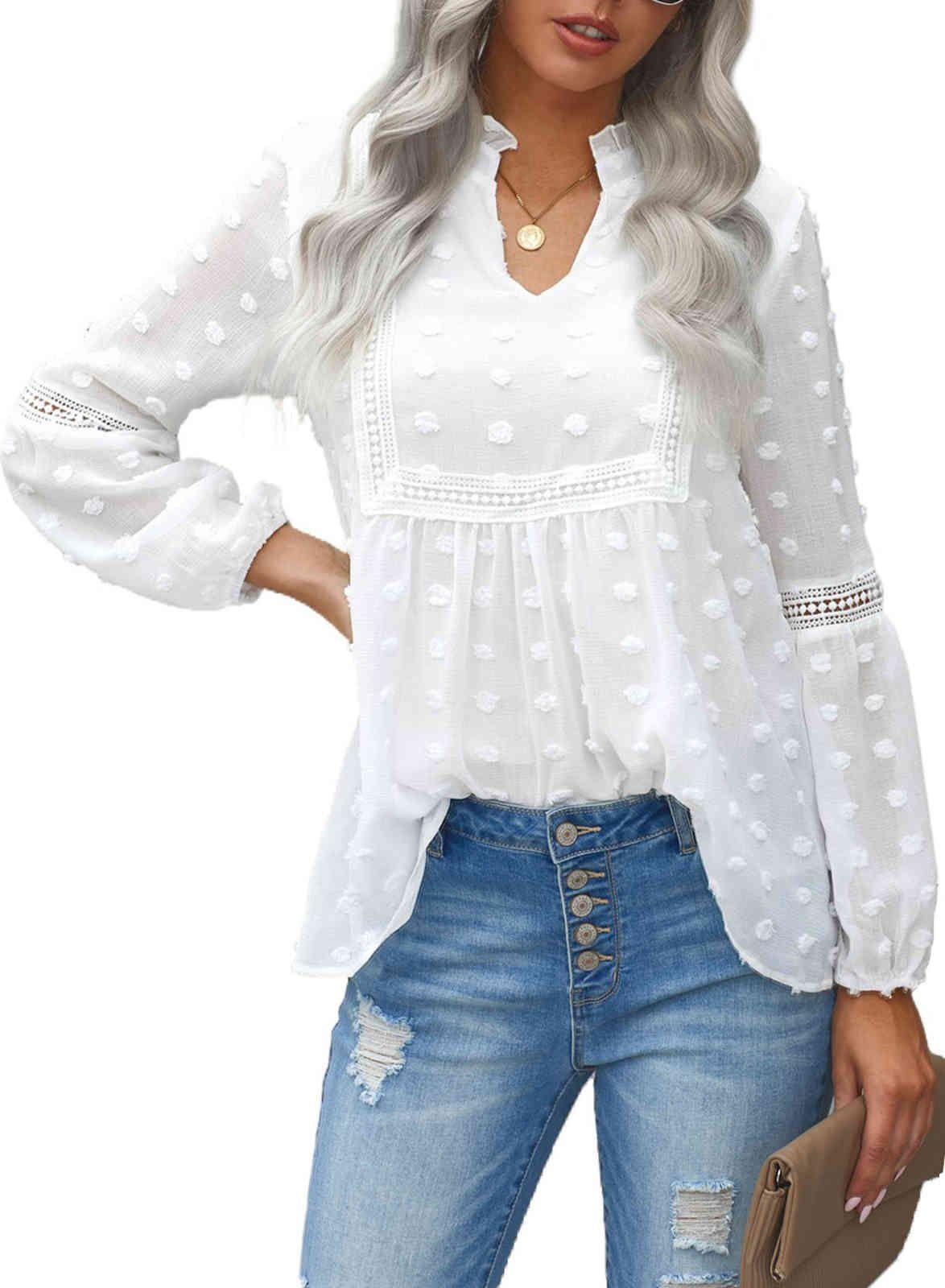 2021 shirt women's autumn pure color wool ball decoration V-neck Pullover women's lace shirt T-shirt