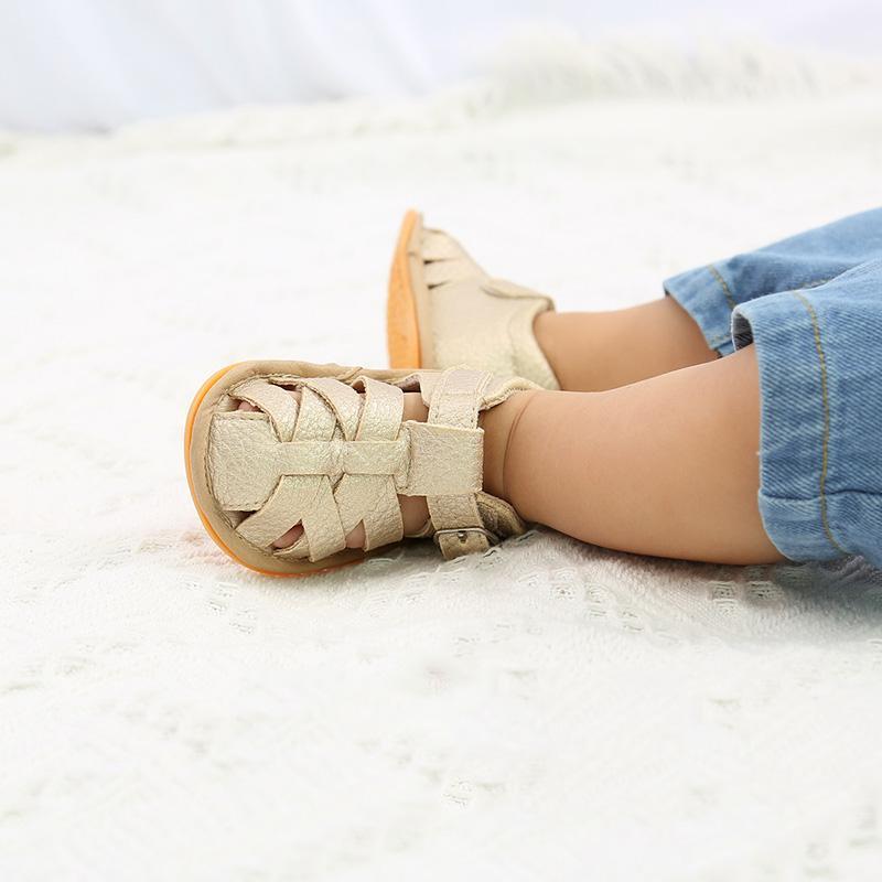 Primeiras caminhantes primavera e verão respirante não-deslize tecer sapatos infantis nascidos toddler outing menina