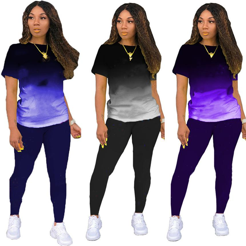 Plus size Womens casual Tracksuits gardient Two piece sets S-2XL sports running suit summer clothing shoer sleeve t shirts+leggings letter print Outfits 4725