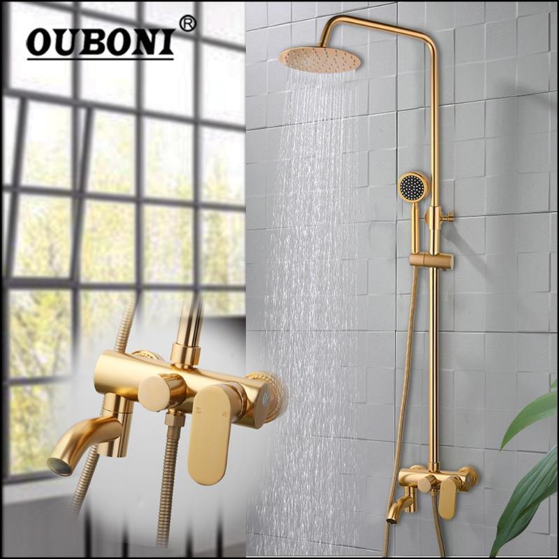 Brushed Gold Bathroom Shower Faucet Rain Head Bathtub Mixer Set W/ Hand Bath Rotated Spray Sets