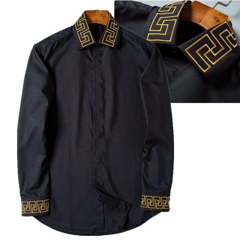 2021 Marke Herren Business Casual Shirt Männer Langarm Gestreifter Slim Fit Maskulina Soziale Männliche T-Shirts Mode Stickerei Mann Überprüft Solide Farbe Hemden