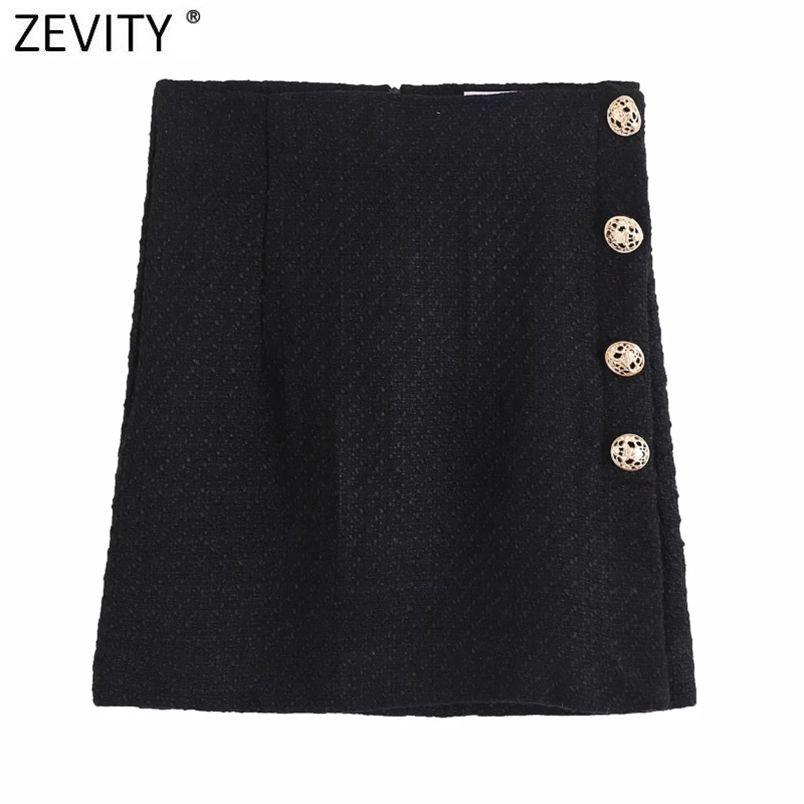 Donne vintage bottoni laterali decorazione casual sottile matita gonna faldas mujer femminile posteriore cerniera chic vestidos QUN708 210420