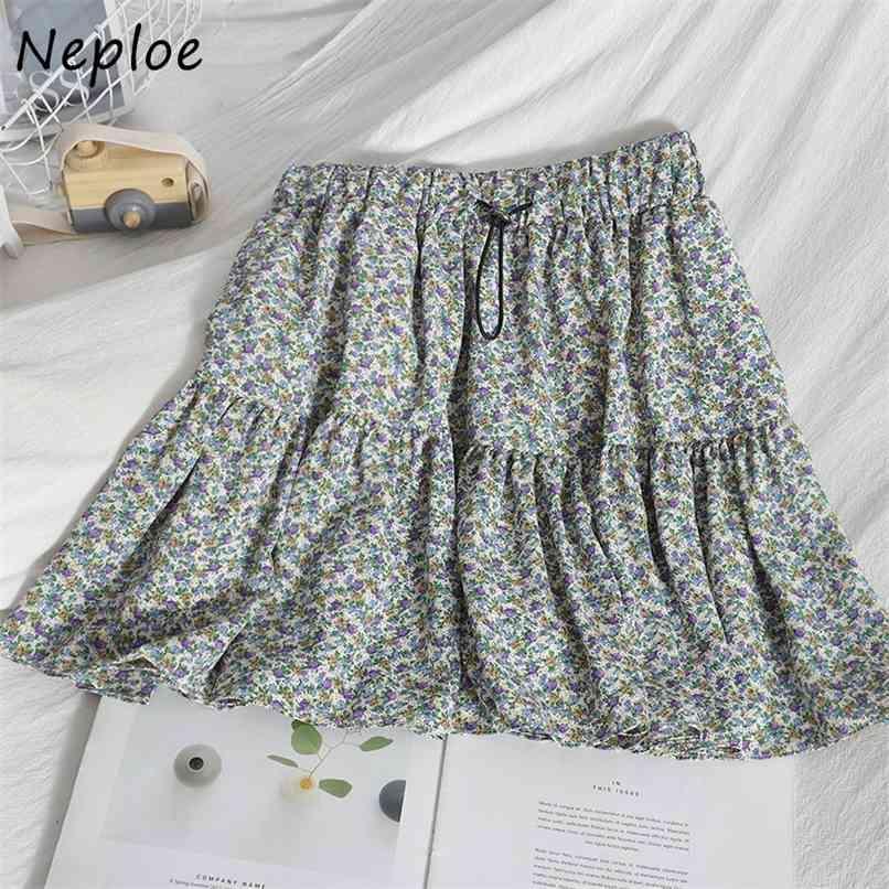 Cintura alta quadril uma saia de linha Mulheres impressão vintage bohemian feriado faldas mujer primavera verão outwear jupe femme 210521