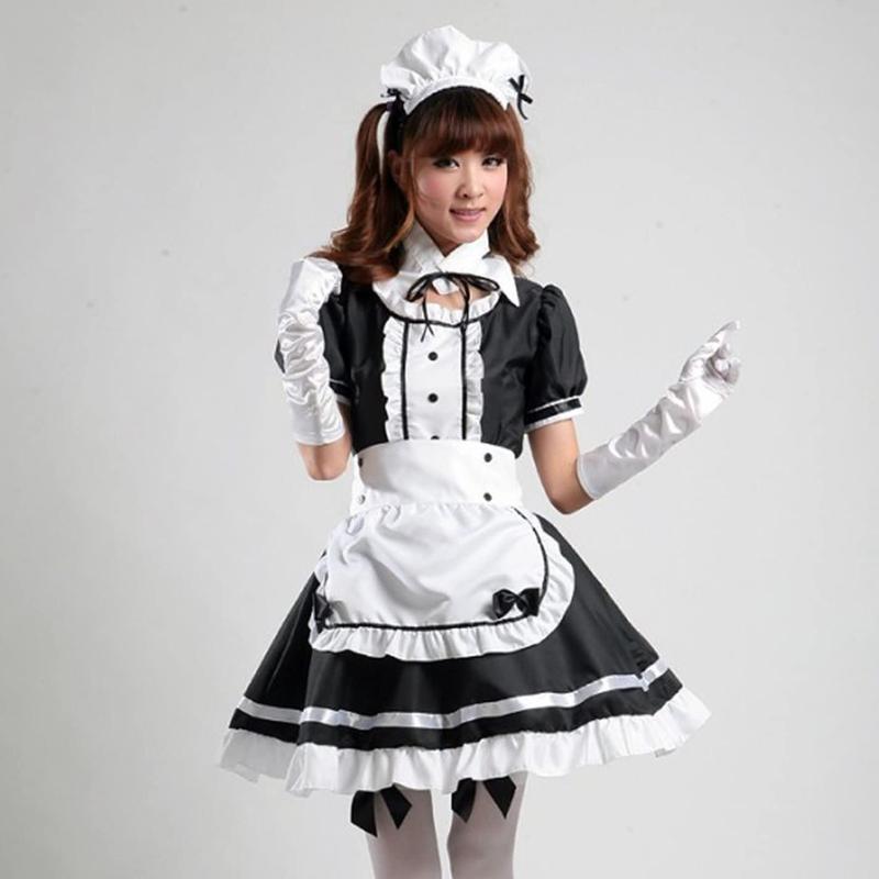 4# Maid Cosplay Costume Dresses Women Headwear Apron Fake Collar Bowknot Dress Sweet Kawaii Short Sleeve Kleider Damen Casual