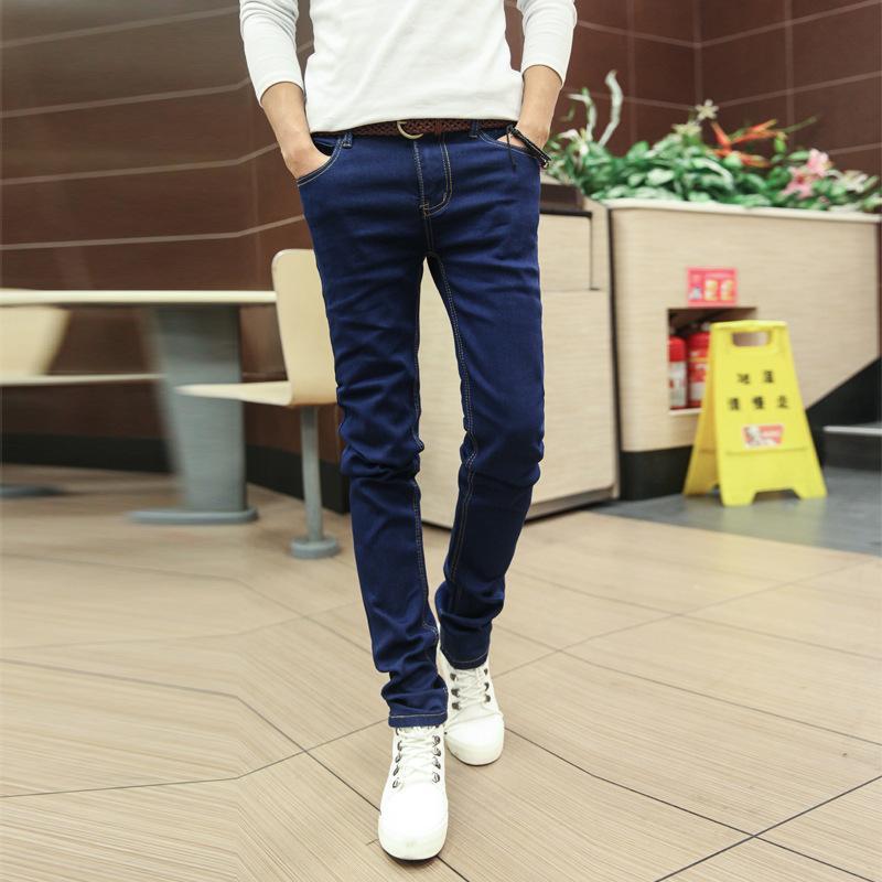 Jeunesse printemps petite jambe jeans bla garçons slim décontracté pantalon long pantalon homme
