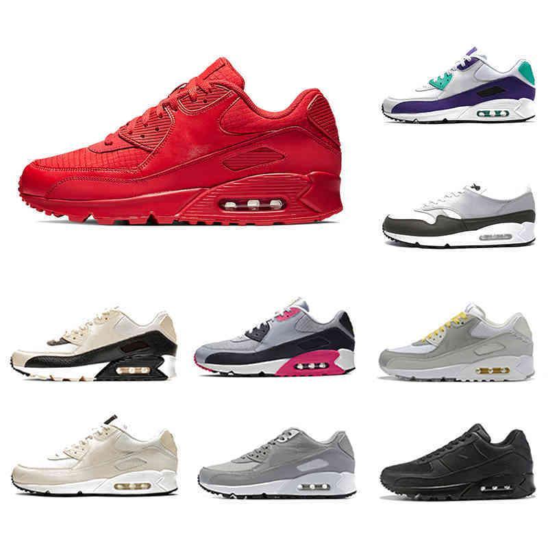 Homens Vermelhos Universidade Clássico 90 Homens Correndo Sapatos Laser Fuchsia Neon Acentos Pálido Marfim Mulheres Treinadores Esportivos Classic 90s Almofada Sneakers