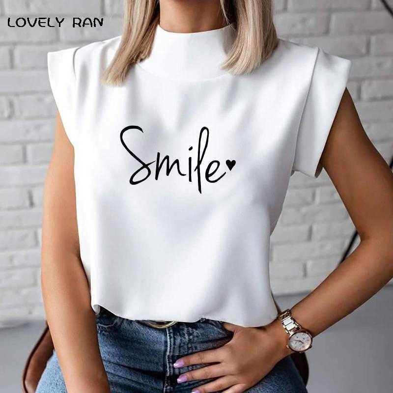 Letra Impresión Blusa de mujer Smiles Sin mangas Soporte Collar Moda Blusas casuales para la oficina de verano femenino Lady Fress Tops