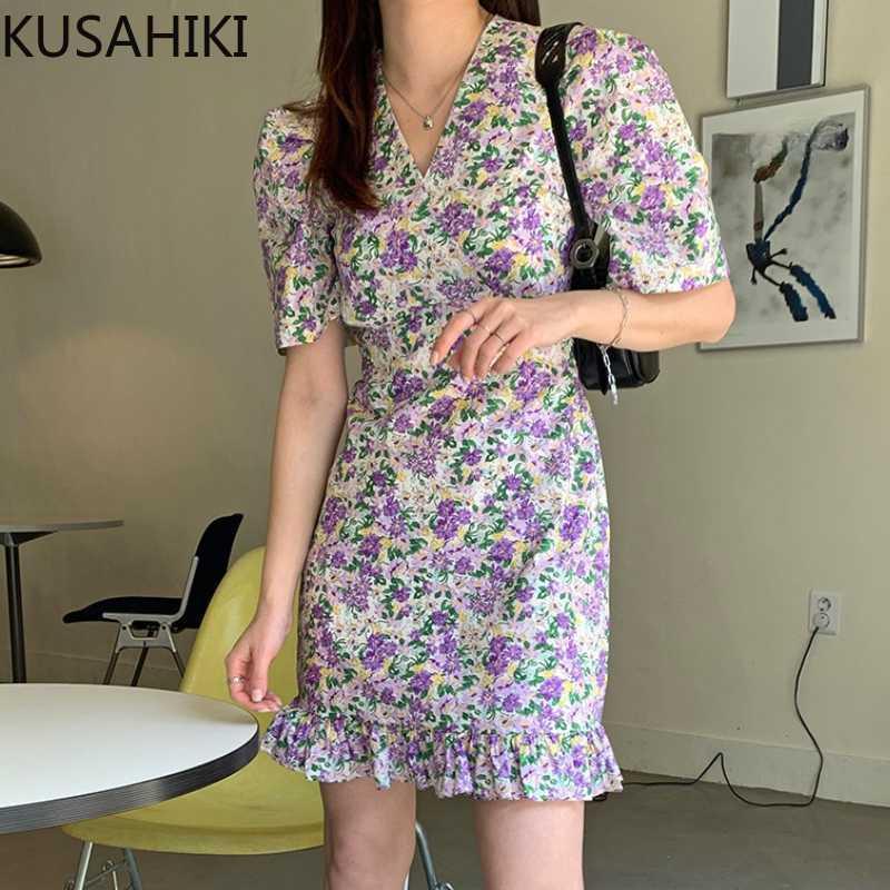 Sommer Elegante Blumenkleider Koreanische V-Ausschnitt Lace Up Slim Taille Vestidos Femme Ruffle Mini 6h220 210603