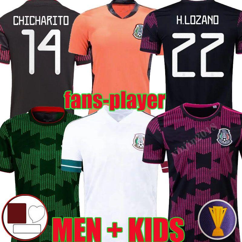 2021 Mexique Jerseys de football Concacaf Gold Cup Camisetas 21 22 Ventilateur Version du joueur Chicharito Lozano Dos Santos 2022 Gardado Gardado Homme de football Hommes Kit Kit