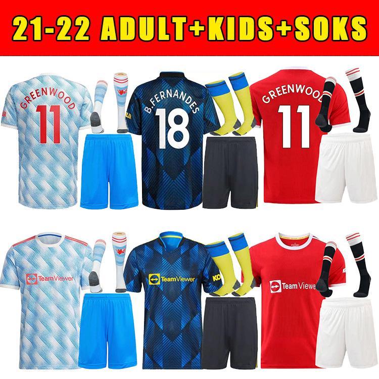 21 22 Manchester Camisas Fãs Veron United Cavani Camiseta Futbol Utd Van de Beek B. Fernandes Rashford Homens Kits Kits + Socks Jersey 2021 2022 Camisa de Futebol