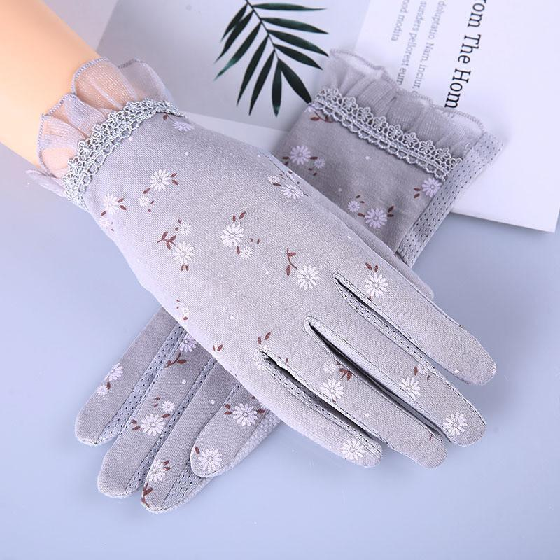 Howfits Spring Summer Driving Gloves Women Touch Screen UV Sol contra los guantes de algodón delgados cortos Flower Flower Fashion Nollip