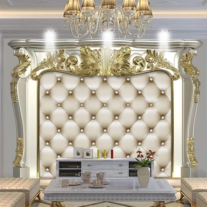 Custom European Style 3D Golden Pattern Soft Roll Mural Living Room TV Sofa Bedroom Luxury Home Decor Wallpaper