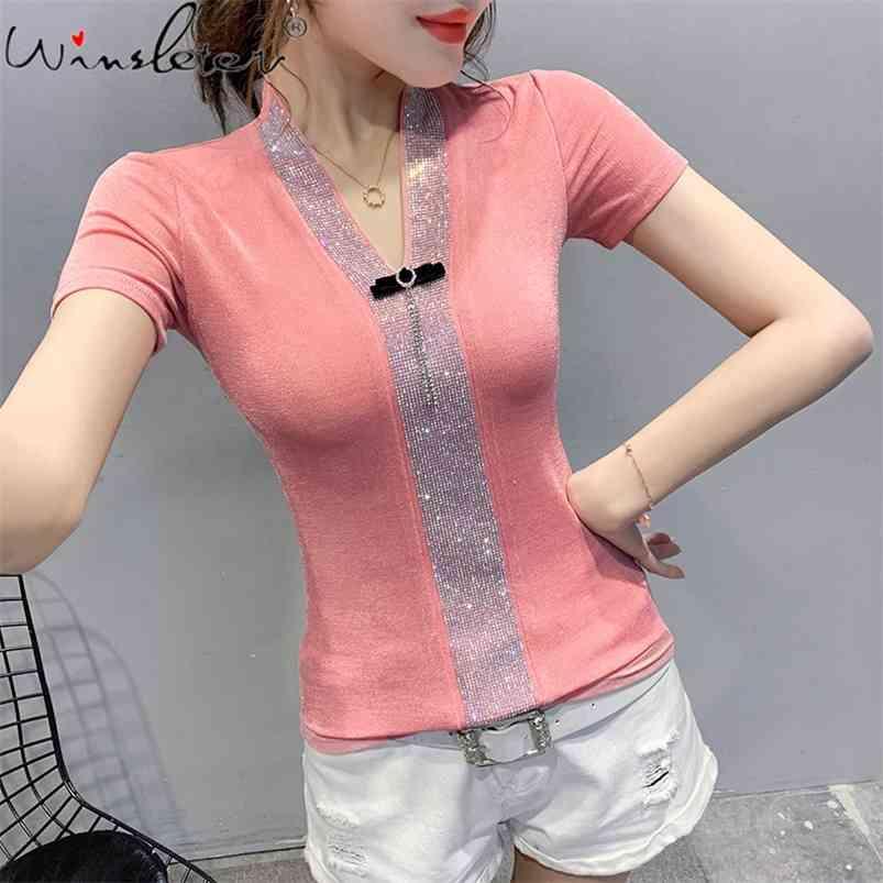 Pembe Temel Üst T Gömlek Zarif Kısa Kollu V Yaka Kadın Rahat Tişörtleri Bayanlar Kadınlar Için Yaz Vintage Streetwear T07808B 210421