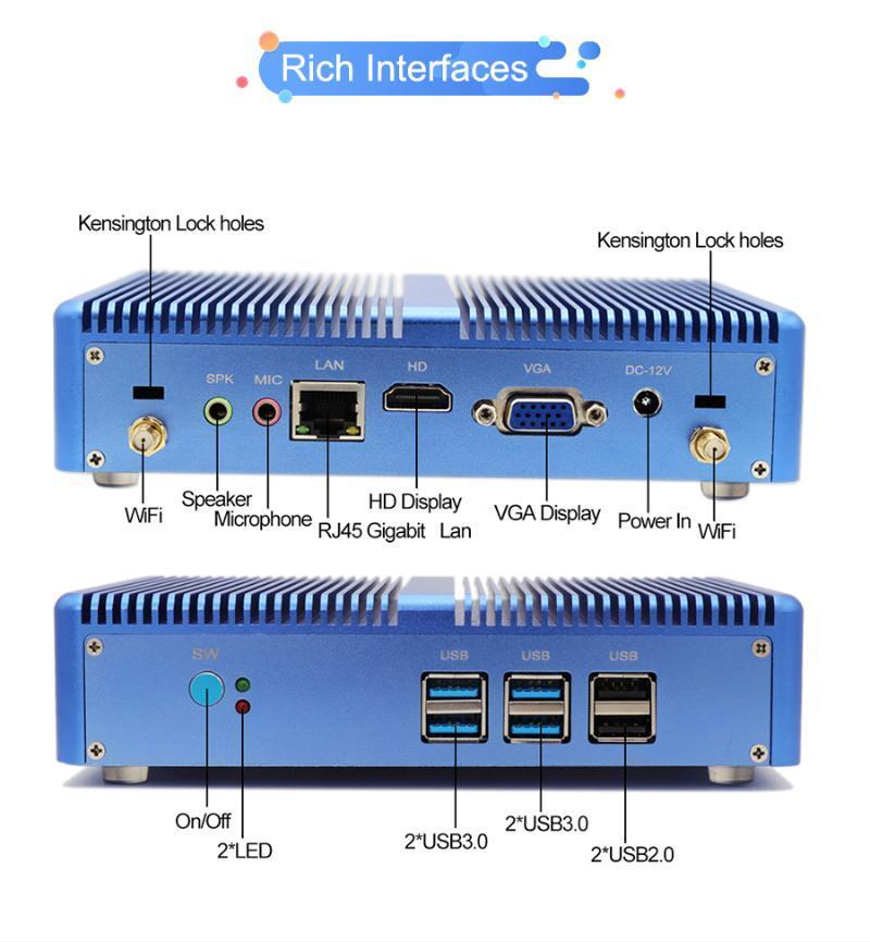 مصغرة قطع عالية الجودة بدون مروحة الكمبيوتر الكمبيوتر الأساسية 7267U i3 7167U الصغرى حقيبة التلفزيون مع 4USB3.0 4K HD VGA Windows 10 Linux WiFi