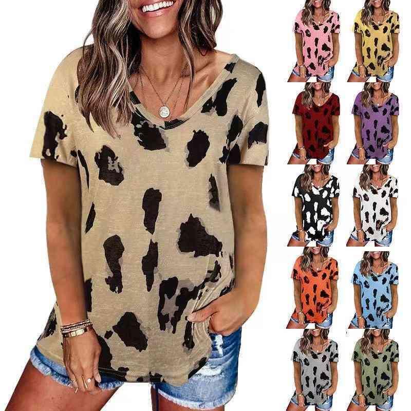 Camiseta para mujer Leopardo Estampado de leopardo Cuello redondo Manga corta Camiseta suelta Estilo de moda casual Famale Tee
