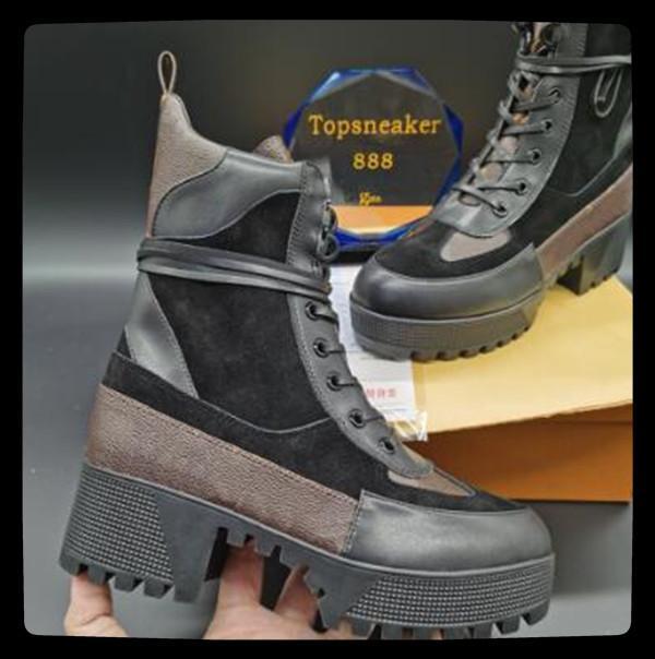 Novo Designer Front Zipper Plataforma Botas 8 Buraco 5 cm Mulheres Winter Shoes Tornozelo Botas 35-41