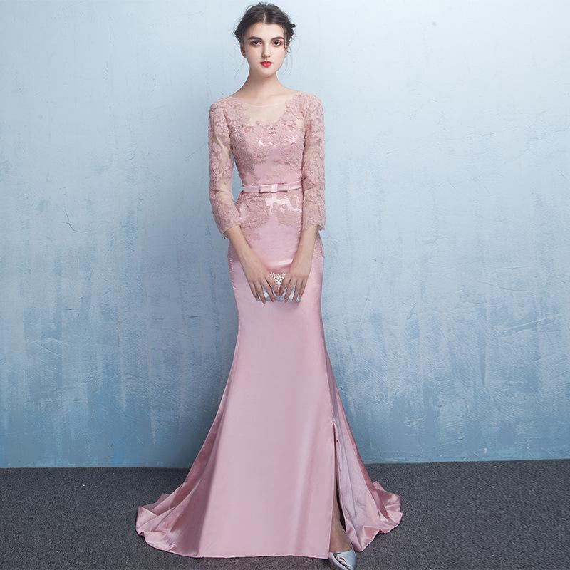 레이스 아플리케 인어 3/4 소매 2021 블러쉬 핑크 분할 무도회 가운 긴 파티 드레스 우아한