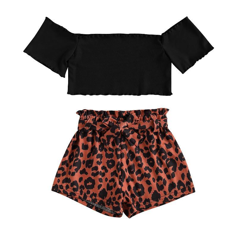 Clothing Sets 2021 Summer Kids Baby Girls Clothes Short Sleeve Off Shoulder T-shirt And Wide Leg Leopard Shorts Casual Loose Outfits 1-6Y
