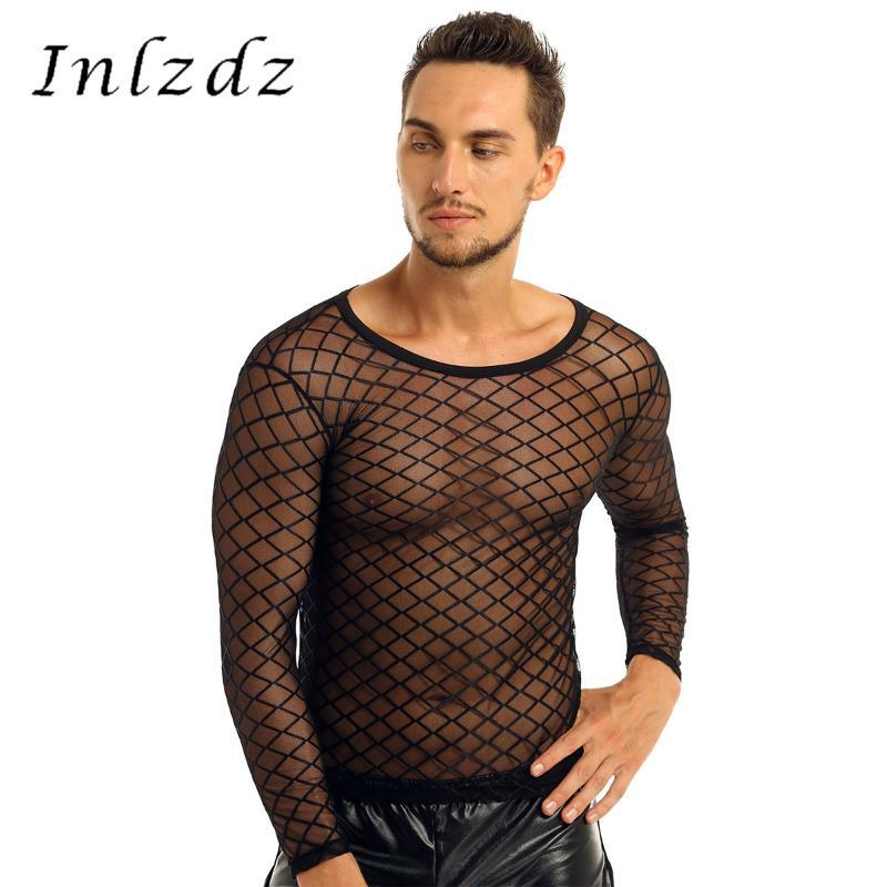 Mens Mesh See-Through Fishnet Shirts Sheer Round Neck Long Sleeve Pullover Club 착용 투명 땀꾼 남성 캐주얼