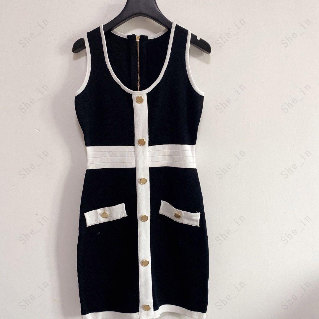 여성용 드레스 캐주얼 니트 드레스 대비 색상 민소매 여름 패션 착용 골드 버튼