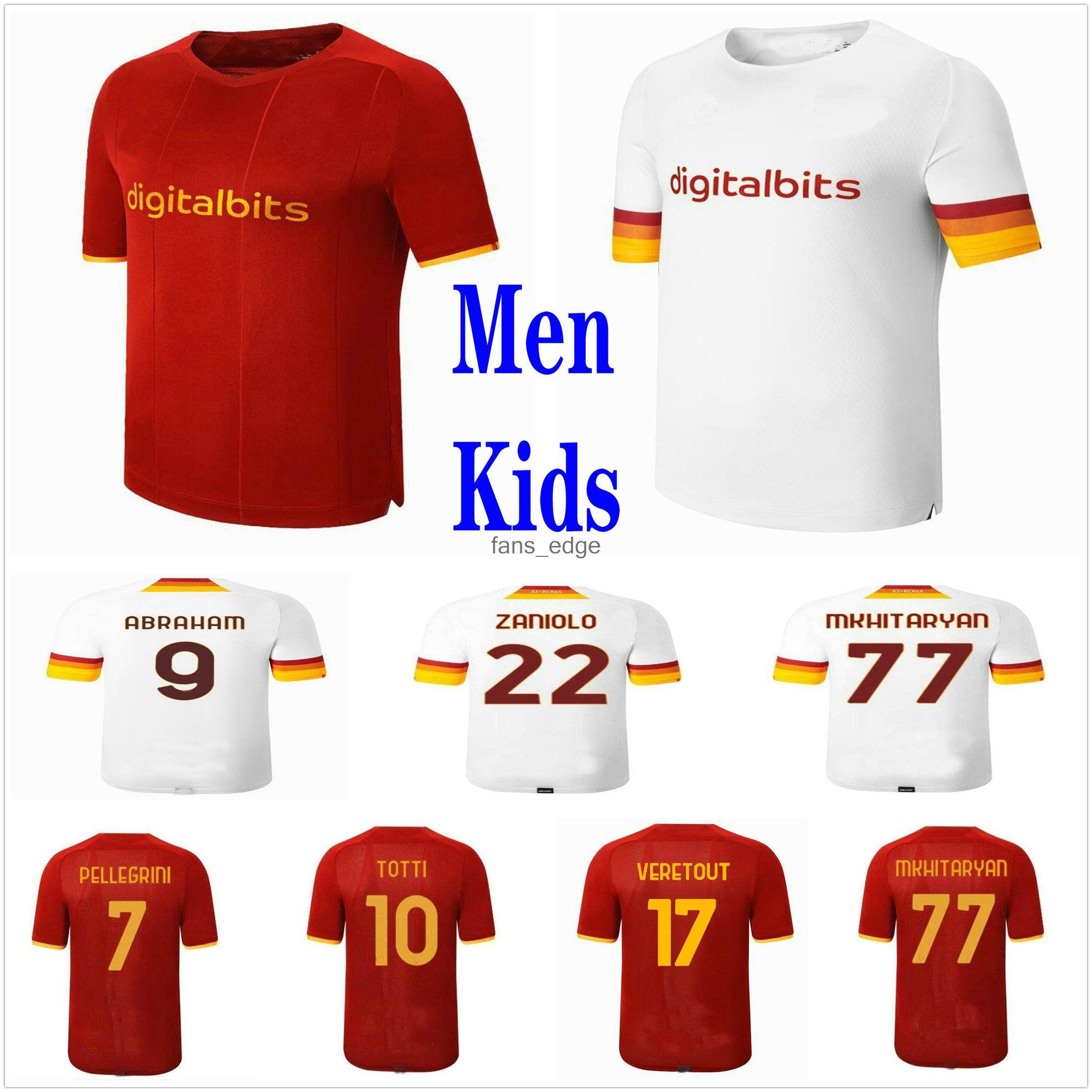 21 22 Roma Jerseys de futebol Abraham Zaniolo Kolarov Totti Kumbulla Perotti Shomurodov Pastore Florenzi Pellegrini Veretout Custom 2021 Roma Homem Kids Football Shirt