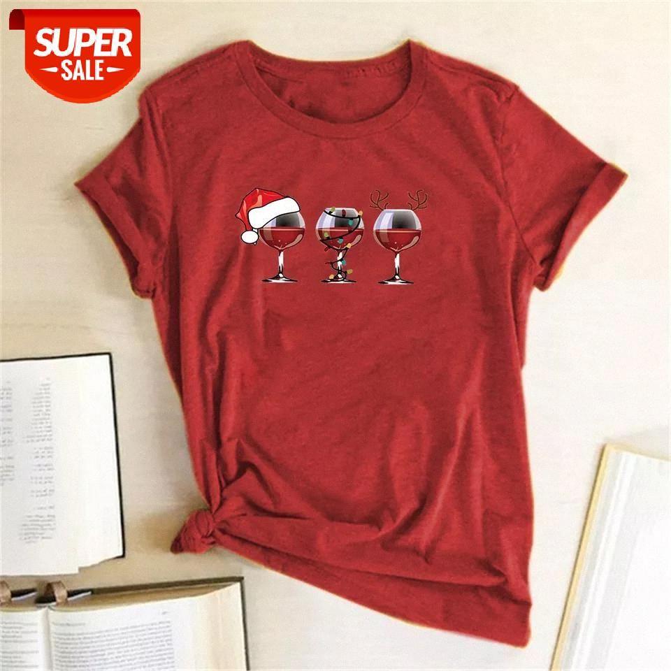 T-shirt Kadınlar Noel T Gömlek Komik Şarap Cam Santa Pençeleri Baskılı Gevşek Kısa Kollu Sevimli Tees Kadın Grafik Tops parti # NY6J