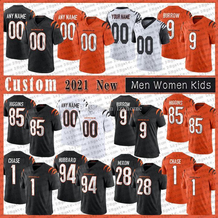 9 Joe Burrow Burreaux 28 Mixon 맞춤형 남성 여성 축구 유니폼 Jamarr Ja'marr Chase 85 Tee Higgins 30 Jessie Bates III 2021 신시내티벵골타일러 보이드